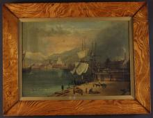 A Late 18th/Early 19th Century Oil on Canvas: Harbour Scene, 13 ins x 18 ins (33 cm x 46 cms), mounted in a glazed figured elm frame, 16¾ ins x 21¾ ins (42.5 cm x 55.5 cms).