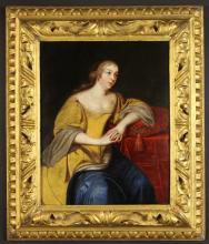 Attributed to Frans van Mieris. A 17th Century Oil on Cradled Oak Panel: Three-quarter Length Portrait of an elegant lady believed to be Marie de Rabutin-Chantal, marquise de Sévigné (1626-1696), wearing a gold dress and blue sash seated on a red velvet cushion. Contained in an elaborate carved and gilded frame 20 ins x 16½ ins (51 cms x 42 cms).