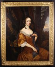 Circle of Sir Peter Lely. Oil on Canvas: Impressive three quarter length Portrait of an Aristocratic Lady wearing a brown dress and blue drape adorned with pearls, seated in woodland with landscape beyond, 50 ins x 40 ins (127 cms x 102 cms). Contained in a carved gitlwood frame 56 ins x 46 ins (143 cm x 118 cms).