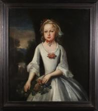 An 18th Century English Provincial School. Oil on Canvas; Portrait of a girl wearing white linen dress festooned with flowers set in landscape with waterfall beyond, 30 ins x 26 ins (76 cms x 66 cms). Set in a later ebonised frame 35 ins x 31 ins (89 cms x 79 cms).