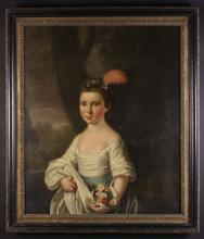 English School.  An 18th Century Oil on Canvas: Half Length Portrait of a Young Girl wearing a plumed floral headdress, white dress and blue sash with flowers gathered in her skirt, 30 ins x 25 ins (76 cms x 64 cms). Contained in a moulded black frame with gilt liner, 35 ins x 30 ins (89 cm x 76 cms).