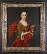 English Provincial School, Circa 1690. A Portrait of a young girl wearing a brown dress with red sash holding a garland of flowers, 30 ins x 25 ins (76 cm x 64 cms). In a 17th century carved wooden frame 37 ins x 2 ins (94 cms x 82 cms).
