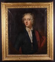 English School.  An 18th Century Oil on Canvas: Head & Shoulders Portrait of a Young Gentleman wearing a blue jacket with red drape, painted in a feigned oval, 30 ins x 25 ins (76 cms x 64 cms) and set in a moulded gilt frame with remnants of inscribed paper labels to the back, 37½ ins x 32½ ins (95 cm x 83 cms).