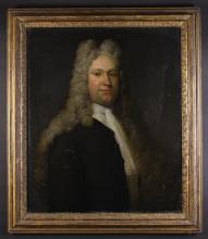 English School.  A Late 17th/Early 18th Century Oil on Canvas: Head & Shoulders Portrait of a Gentleman in high powdered wig, 30 ins x 25 ins (76 cms x 64 cms). Contained in a moulded gilt frame 36 ins x 31 ins (91 cm x 79 cms).