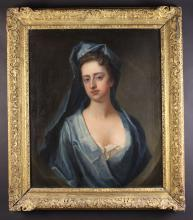 English School.  An 18th Century Oil on Canvas: Head & Shoulders Portrait of a Lady wearing a blue head scarf & dress, painted in a feigned oval with a paper label to verso inscribed 'Martha Scudamore who married Nicholas Lechmere', 30 ins x 25 ins (76 cms x 64 cms). Mounted in a decorative gilt frame 37½ ins x 32½ ins (95 cm x 83 cms).