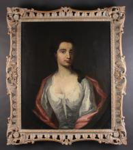Circle of Michael Dahl (1659-1743). Oil on Canvas; Portrait believed to be The Hon. Mrs Leveson Gower, Daughter of Mrs Grosvenor, 30 ins x 25 ins (76 cm x 64 cm), contained within a later carved wooden frame 37 ins x 32 ins (94 cm x 82 cm).