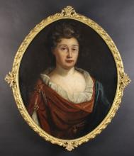 An 18th Century Oval Oil on Canvas: Head & Shoulders Portrait of a Lady (believed to be a member of the Downes Family) 29¼ ins x 24 ins (74 cm x 61 cms) in a gadrooned gilt frame sprigged with foliate crests, 33 ins x 29 ins (84 cm x 73 cms).