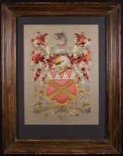 A Silk-work Armorial Panel embroidered in metallic gold and coloured silk threads with a coat of arms above a scrolling banner inscribed 'MAGNA OPERA DOMINI' on an ivory silk ground. Mounted in a moulded wooden frame 29 ins x 22 ins (74 cms X 56 cms).