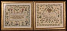 A Superb Pair of Samplers by sisters Ellen & Sophia Hunt, both dated 1838. Sophia's work having a religious verse within an unusual dogtooth cartouche in a carnation border. Ellen's work featuring a similar dogtooth cartouche containing a verse about the virtues of needlework, 12 ins x 14 ins (30.5 cms x 35.5 cms). Both mounted in glazed giltwood frames with gadrooned edging, 15¾ins x 17¾ ins (40 cms x 45 cms).