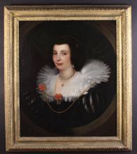 Studio of Anthony Van Dyck . A 17th Century Oil on Canvas laid onto Panel: Portrait of Anna Maria de Camudio, wearing an exquisite black cut silk dress with elaborate ruff and pearls, within a feigned oval, 30 ins x 25 ns (76 cm x 64 cms) Contained in a fine 17th century carved wood frame 36½ ins x 31½ ins (93 cms x 80 cms).