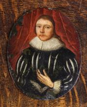A 16th Century Oil on Oval Copper Panel: Three-quarter length portrait of a Gentleman with ruff and slashed doublet 11½ ins x 9 ins (19 cm x 23 cms).