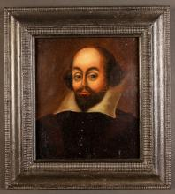 English Provincial School, Circa 1600. Oil on Oak Panel: Portrait of a Gentleman believed to be William Shakespeare, 9½ ins x 8½ ins (24 cms x 21.5 cms), in an ebonised ripple moulded frame 14 ins x 12¾ ins (35.5 cm x 32.5 cms).