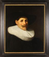 Follower of Anthony van Dyck. Oil on Canvas; Portrait of a bearded Dutch merchant with large brimmed hat and ruff collar, 27½ ins x 23 ins (70 cm x 58.5 cms). Contained within an ebonised frame 33 ins x 28½ ins (84 cms x 72.5 cms).