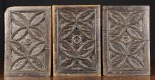 Three 15th Century Gothic Carved Oak Panels enriched with tracery, 12¼ ins x 8½ ins (31 cm x 21.5 cms).