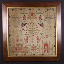 A Victorian Sampler commemorating George & Agnes Iseby, dated November 1854 with initials, and stitched in silks and wool on a linen ground with depictions of Adam & Eve, buildings, 2 ships named 'Lady Louisa' and 'Avon', floral motifs and angels, incorporating the name CEMAES, which probably denotes it is a Welsh sampler from the Camaes Bay area. Mounted in original glazed rosewood frame 25 ins x 25 ins (63.5 cm x 63.5 cms).