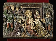 A Fine 15th Century Flemish Carved Oak Bas Relief