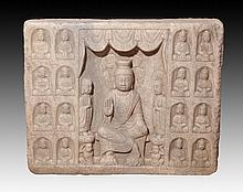 A VERY RARE AND LARGE STONE BUDDHA