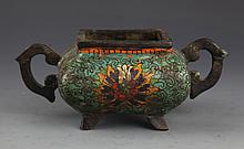 A TWO HANDLE COLORFUL BRONZE CENSER
