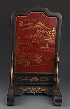 A PAINTED WOODEN CHINESE LACQUER TABLE PLAQUE