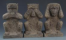 A GROUP OF THREE FINELY CARVED STONE MONKEY