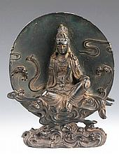 AN OLD FINELY CARVED BRONZE BUDDHA