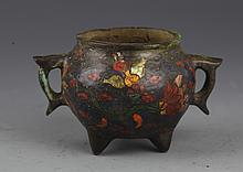 A TWO HANDLE COLORED BRONZE CENSER