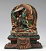A FINELY CARVED TURQUOISE TIBETAN BUDDHA