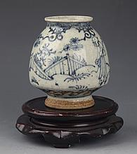 A FINELY PAINTED BLUE AND WHITE JAR
