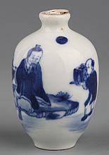 A BLUE AND WHITE PORCELAIN SNUFF BOTTLE WITHOUT COVER