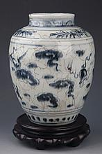 A LARGE DRAGON PAINTED PORCELAIN JAR