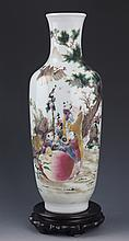 A FINELY STORY PAINTED TALL PORCELAIN JAR