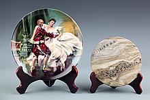 A FINE STONE PLATE AND PAINTED PLATE