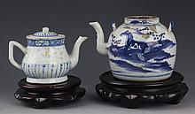 A GROUP OF TWO BLUE AND WHITE PORCELAIN TEA POT