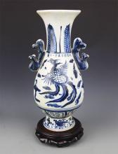 A FINE PHOENIX PAINTED PORCELAIN FLOWER JAR