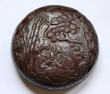 ROSEWOOD INKPAD CARVED WITH CHESS-PLAYING