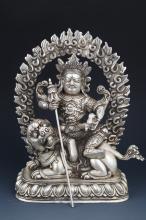 A SILVER PLATED BUDDHA STATUE