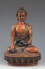 A BRONZE BUDDHA BHAISAJYAGURU BUDDHA FIGURE