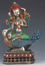 A COLORFUL PAINTED BRONZE BUDDHA