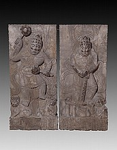 A PAIR OF RARE AND FINELY CARVED IMMORTAL