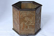 A CARVED BAMBOO HEXAGON BRUSH POT