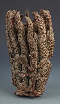 A BUDDHA HAND LIKE BAMBOO ROOT CARVED DECORATION