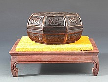 A RARE CARVED BRONZE MAKE UP BOX AND COVER