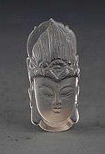 A FINELY GUAN YIN CARVING CRYSTAL PENDANT