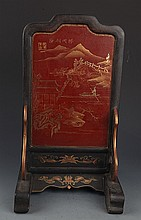 A FINELY PAINTED WOODEN CHINESE LACQUER TABLE PLAQUE