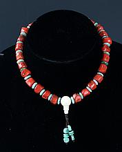 A FINE CORAL AND TURQUOISE NECKLACE