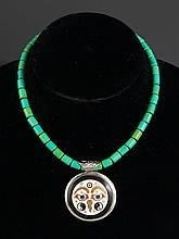 A FINE TURQUOISE NECKLACE WITH PENDANT