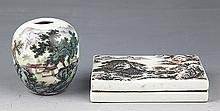 A SET OF PORCELAIN INK BOX AND WATER DROP