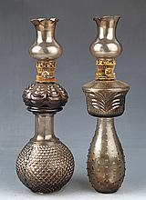 A PAIR OF GLASS LAMP