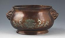 A FINELY FLOWER CARVING BRONZE CENSER