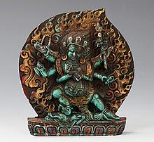 A FINELY CARVED TURQUOISE TIBETAN RELIGIOUS BUDDHA